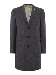 Noose And Monkey Men's Hinton Herringbone Wool Overcoat Coat Charcoal