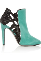 Aperlai Faux Snake Trimmed Suede And Glitter Finished Ankle Boots