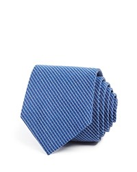 Theory Textured Thin Stripe Skinny Tie Navy