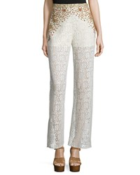 Haute Hippie Beaded Crochet Lace Wide Leg Pants Ivory Ant Ivoire