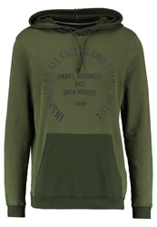 Tom Tailor Denim Hoody With Print Hoodie Woodland Green Khaki