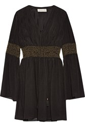 Rachel Zoe Laurel Embellished Crinkled Silk Chiffon Mini Dress Black