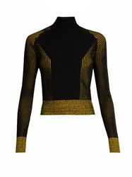 Marco De Vincenzo Bi Colour Ribbed Knit Roll Neck Sweater Yellow Multi