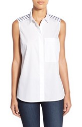 Women's Halogen Sleeveless Colorblock Button Back Poplin Top White Grey Stripe Colorblock