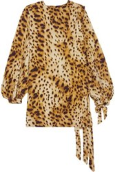Ronald Van Der Kemp Cheetah Print Silk Mini Dress Beige