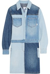 Steve J And Yoni P Patchwork Denim Shirt Dress Mid Denim