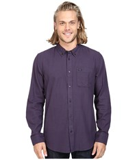 Rvca That'll Do Twist Long Sleeve Woven Tawny Port Men's Clothing Red