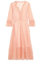 Maje Ruffle Trimmed Lace Midi Dress Peach