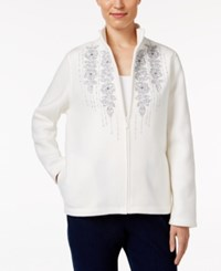 Alfred Dunner Embroidered Fleece Jacket Ivory