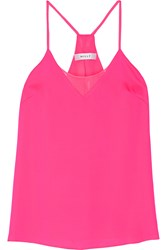 Milly Sophia Chiffon Trimmed Silk Blend Satin Top Pink