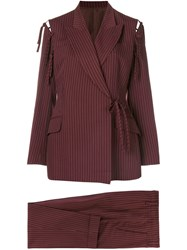 Jean Paul Gaultier Vintage Pinstripe Trouser Suit Red