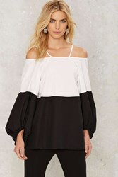 Clean Block Cold Shoulder Top Black