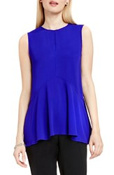 Vince Camuto Petite Women's Sleeveless Ruffle Front Top Optic Blue