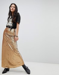Native Rose Maxi Skirt In Sequin Burnt Gold
