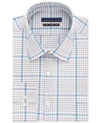Geoffrey Beene Non Iron Fitted Stretch Blue Multi Grid Check Dress Shirt