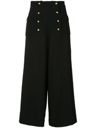 Chanel Vintage Wide Legged Cropped Trousers Black