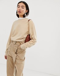 Weekday Huge Cropped Sweatshirt In Beige