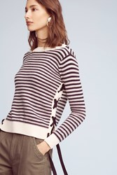 Anthropologie Ribboned And Striped Sweater Black White