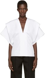 Victoria Beckham White V Neck Cape Blouse