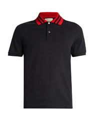 Gucci Contrast Collar Cotton Blend Polo Shirt Blue