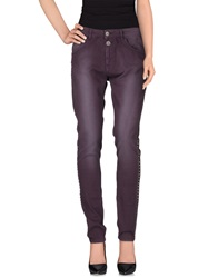 Pinko Grey Casual Pants Dark Purple