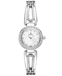 Bulova Women's Silver Tone Crystal Accent Bangle Bracelet Watch 23Mm 96L126 Women's Shoes