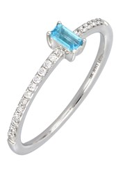 Bony Levy 18K White Gold Prong Set Blue Topaz And Pave Diamond Band Stacking Ring