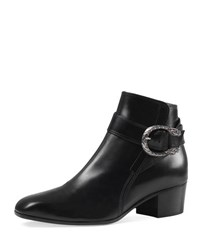 Gucci Dionysus Leather Ankle Boot Black Nero