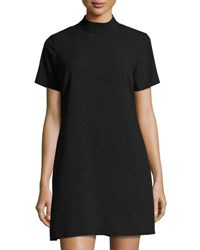 Catherine Malandrino Short Sleeve Mock Neck Shift Dress Black