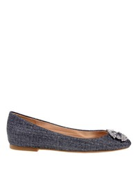 Badgley Mischka North Woven Metallic Textile Ballet Flats Grey