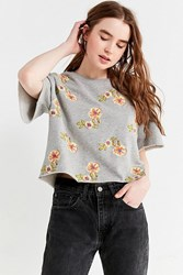 Urban Outfitters Uo Floral Embroidered Short Sleeve Sweatshirt Grey