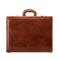 Maxwell Scott Bags Finely Crafted Tan Leather Attache Briefcase For