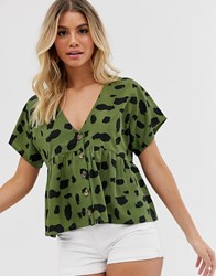 Influence Button Front Short Sleeve Top In Khaki Green