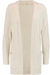 Monrow Cotton And Cashmere Blend Jersey Cardigan Beige