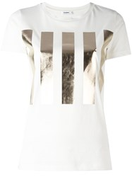 Jil Sander High Shine Bars Print T Shirt White