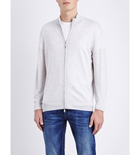 Brunello Cucinelli Zipped Wool And Cashmere Blend Cardigan Lt Grey