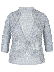 Chesca Lace Cornelli Embroidered Trim Jacket Aqua