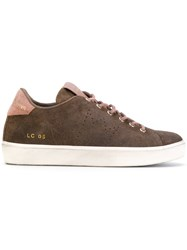 Leather Crown Lace Up Sneakers Cotton Suede Rubber Brown