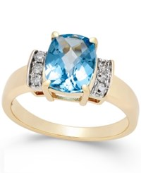 Macy's Swiss Blue Topaz 2 9 10 Ct. T.W. And Diamond 1 8 Ct. T.W. Ring In 14K Gold Yellow Gold