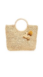 Hat Attack Small Round Handle Bag Natural Neutral Metallic