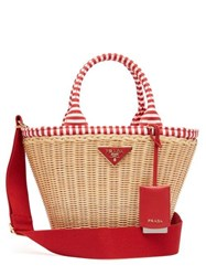Prada Wicker And Canvas Basket Bag Red Multi