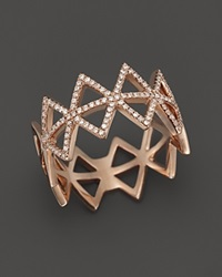 Bloomingdale's Diamond Triangle Band Ring In 14K Rose Gold .25 Ct. T.W. Pink