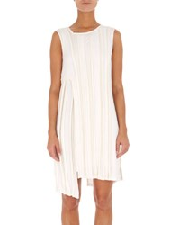 Atlein Sleeveless Asymmetric Ribbed Short Dress White Pattern
