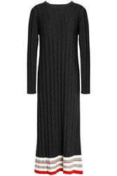 Madeleine Thompson Ribbed Wool And Cashmere Blend Midi Dress Charcoal