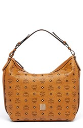 Mcm 'Small Gold Visetos' Hobo Brown Cognac