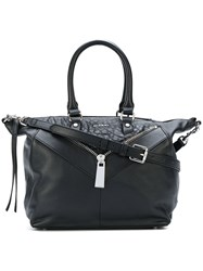 Diesel Zip Detail Tote Women Calf Leather One Size Black