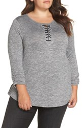 Wit And Wisdom Plus Size Knit Top Heather Charcoal