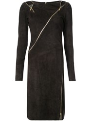 Jitrois Zipped Dress Cotton Lamb Skin Spandex Elastane Brown