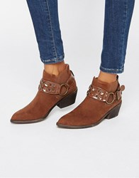 London Rebel Western Ankle Boots Brown Mf