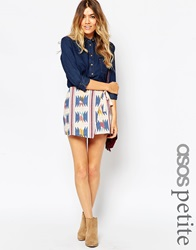 Asos Petite Wrap Mini Skirt With Embroidery And Grosgrain Tie Aztec